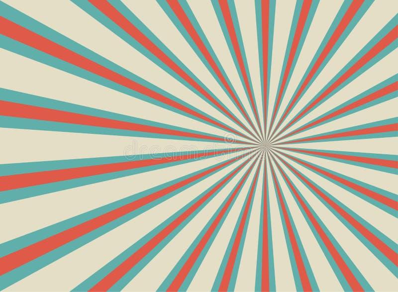Αναδρομικό ευρύ οριζόντιο υπόβαθρο φωτός του ήλιου Χλωμό κόκκινο, μπλε, μπεζ υπόβαθρο έκρηξης χρώματος απεικόνιση αποθεμάτων