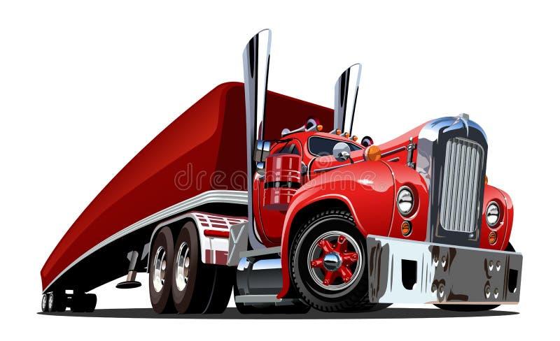 Αναδρομικό ημι φορτηγό κινούμενων σχεδίων που απομονώνεται στο λευκό ελεύθερη απεικόνιση δικαιώματος