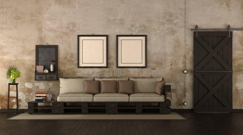 Αναδρομικό καθιστικό με τον καναπέ παλετών απεικόνιση αποθεμάτων