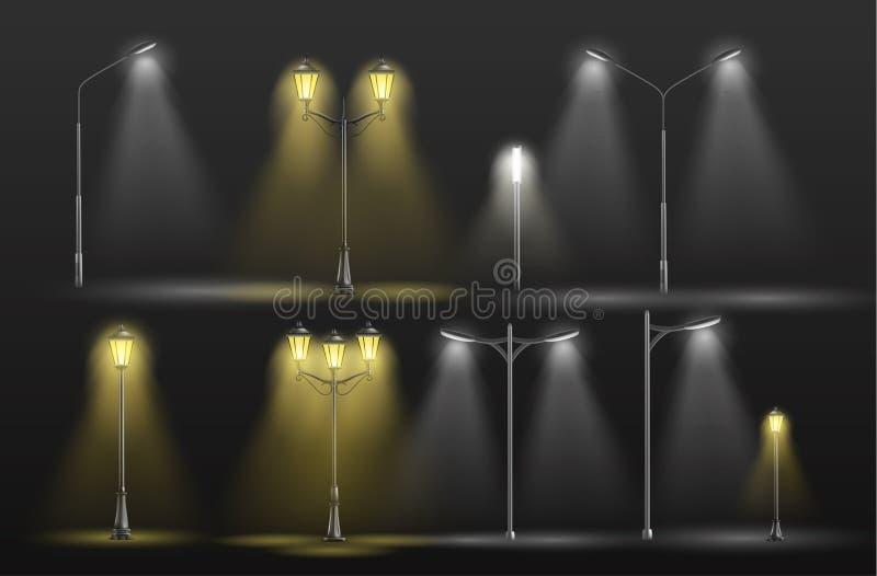 Αναδρομικό και σύγχρονο διανυσματικό σύνολο οδών lampposts απεικόνιση αποθεμάτων