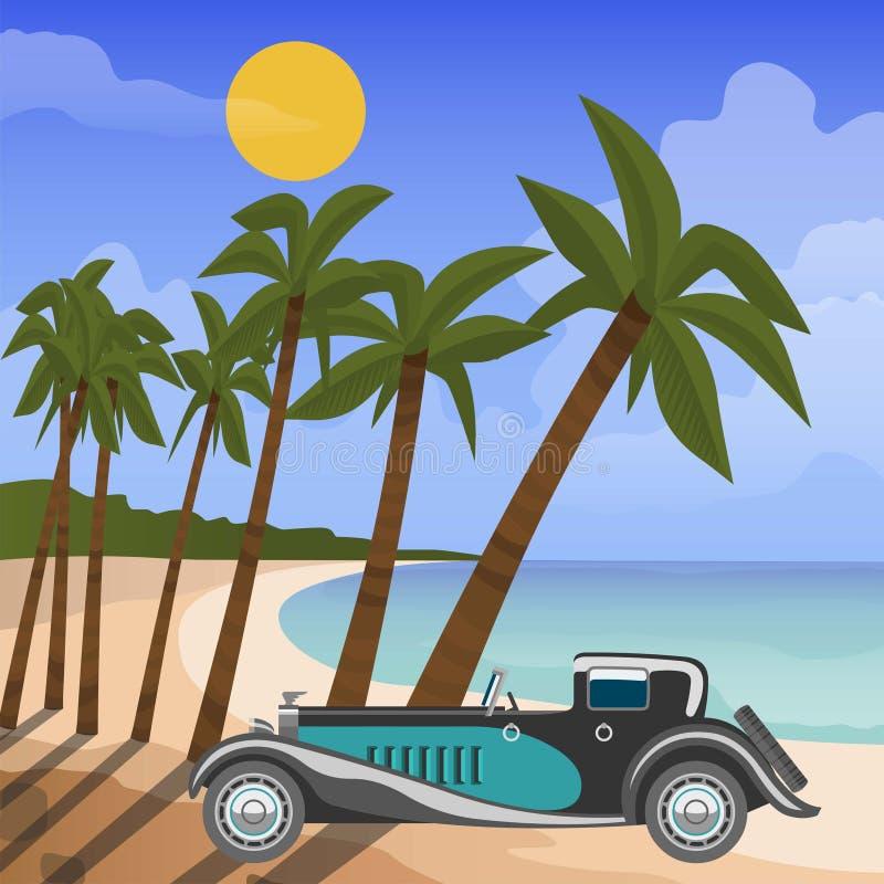 Αναδρομικό καμπριολέ αυτοκινήτων στην τροπική παραλία με τους φοίνικες και αυτοκίνητο στον ήλιο και τη διανυσματική απεικόνιση σύ ελεύθερη απεικόνιση δικαιώματος