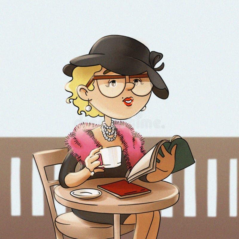 Αναδρομικό κορίτσι στα γυαλιά και ένα καπέλο σε έναν πίνακα σε έναν καφέ διανυσματική απεικόνιση