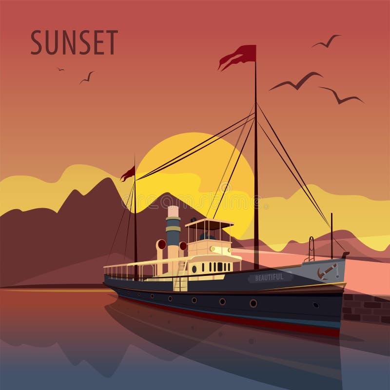 Αναδρομικό κρουαζιερόπλοιο στην αποβάθρα στο ηλιοβασίλεμα ελεύθερη απεικόνιση δικαιώματος