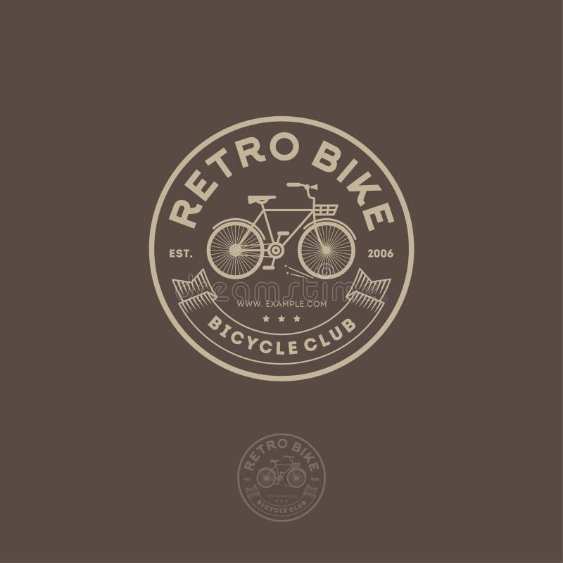Αναδρομικό λογότυπο ποδηλάτων Ανακυκλώνοντας έμβλημα λεσχών Επιστολές, κορδέλλα και ποδήλατο στον κύκλο διανυσματική απεικόνιση