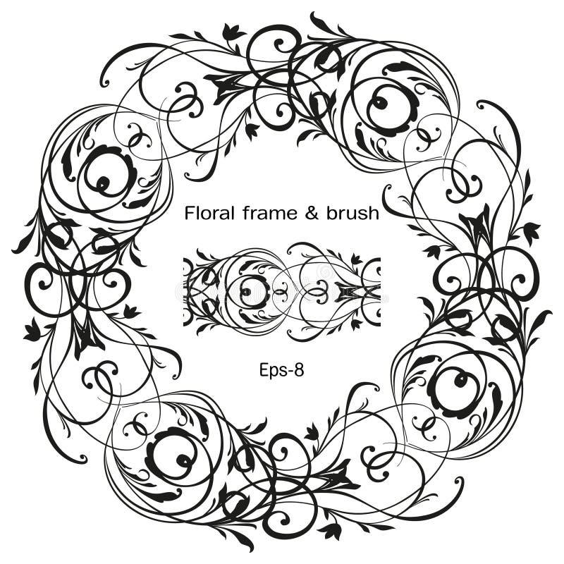 Αναδρομικό λουλουδιών σχεδίων στοιχείο σχεδίου στροβίλου διακοσμητικό Ο εκλεκτής ποιότητας πλαισίων συνόρων φύλλων Μαύρος χάραξης απεικόνιση αποθεμάτων