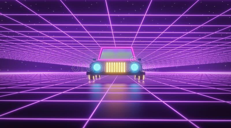 Αναδρομικό μέλλον sci ύφους της δεκαετίας του '80 υπόβαθρο FI με το φουτουριστικό αναδρομικό αυτοκίνητο r διανυσματική απεικόνιση
