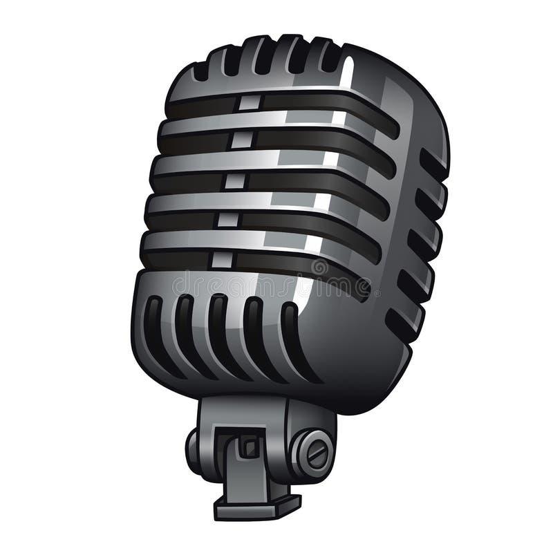 Αναδρομικό μικρόφωνο που απομονώνεται στο άσπρο υπόβαθρο διανυσματική απεικόνιση