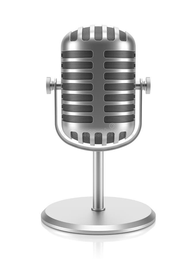Αναδρομικό μικρόφωνο υπολογιστών γραφείου που απομονώνεται στο άσπρο υπόβαθρο τρισδιάστατο ελεύθερη απεικόνιση δικαιώματος