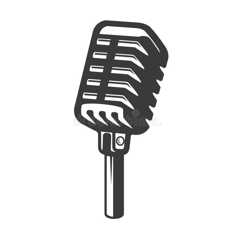 Αναδρομικό μικρόφωνο ύφους που απομονώνεται στο άσπρο υπόβαθρο Στοιχείο σχεδίου για το διακριτικό, αφίσα, κάρτα διανυσματική απεικόνιση