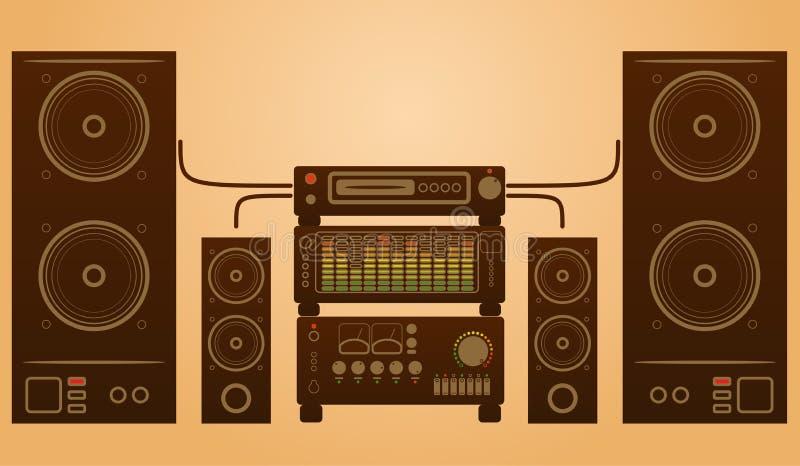 Αναδρομικό μοντέρνο ηχητικό σύστημα απεικόνιση αποθεμάτων