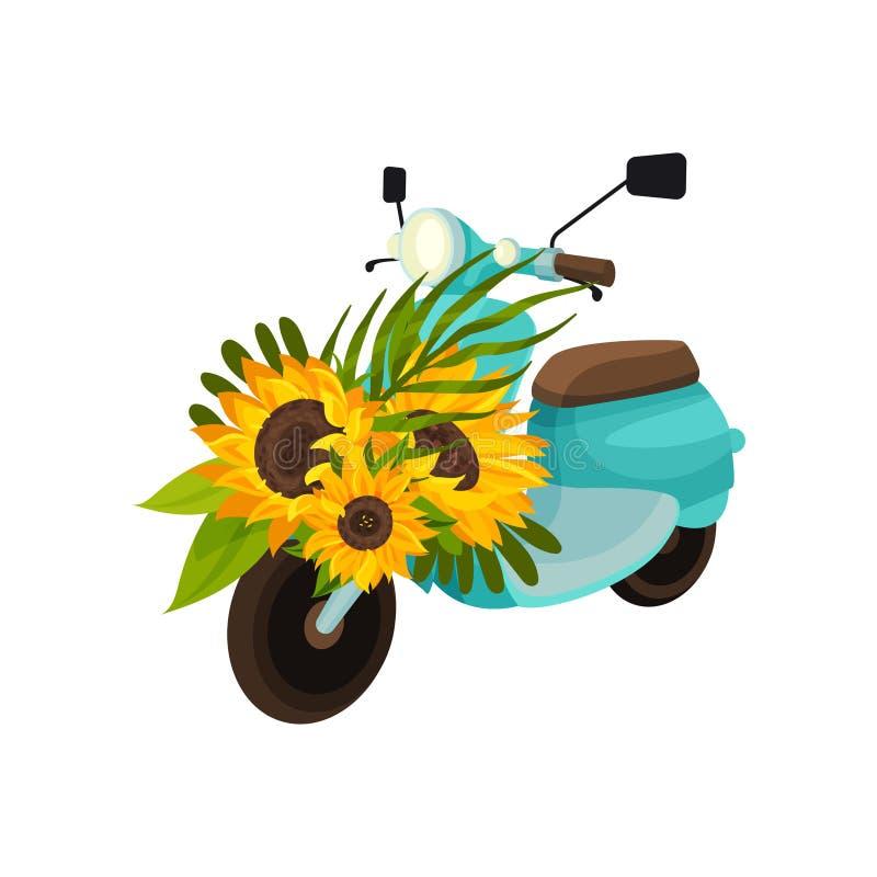 Αναδρομικό μοτοποδήλατο με τους ηλίανθους E διανυσματική απεικόνιση
