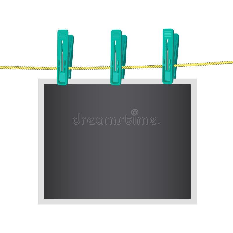 Αναδρομικό πλαίσιο φωτογραφιών που συνδέεται clothespin με το σχοινί απαγορευμένα Πρότυπο Διανυσματική απεικόνιση που απομονώνετα απεικόνιση αποθεμάτων