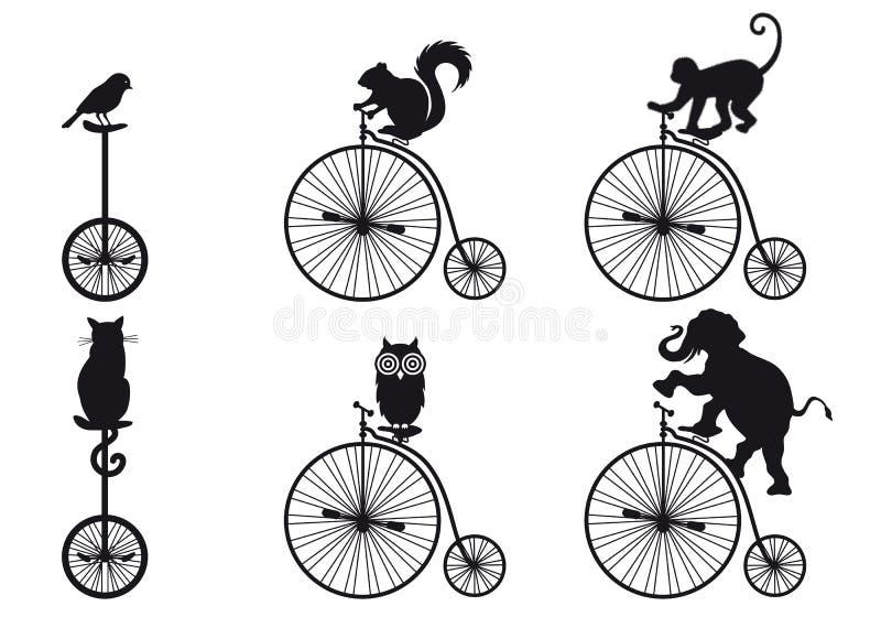 Αναδρομικό ποδήλατο με τα ζώα, διανυσματικό σύνολο ελεύθερη απεικόνιση δικαιώματος