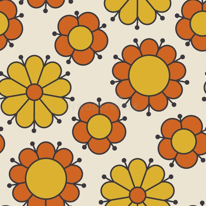Αναδρομικό πορτοκαλί και κίτρινο μοτίβο λουλουδιών της δεκαετίας του '60 χρώματος διανυσματική απεικόνιση