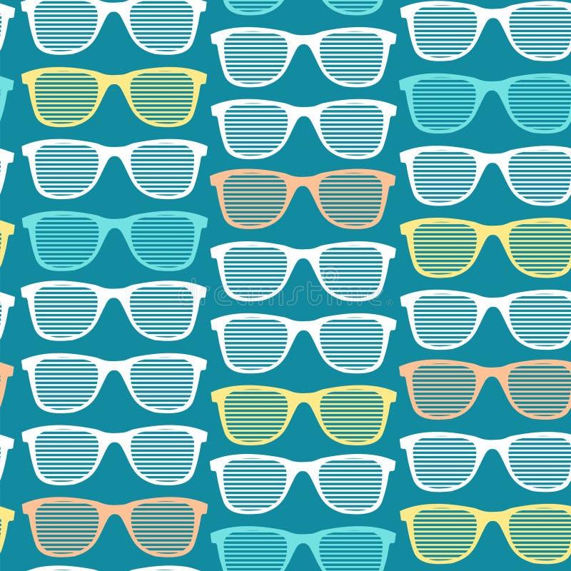 Αναδρομικό ριγωτό υπόβαθρο σχεδίων γυαλιών ηλίου άνευ ραφής διάνυσμα διανυσματική απεικόνιση