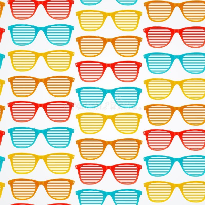 Αναδρομικό ριγωτό υπόβαθρο σχεδίων γυαλιών ηλίου άνευ ραφής διάνυσμα ελεύθερη απεικόνιση δικαιώματος
