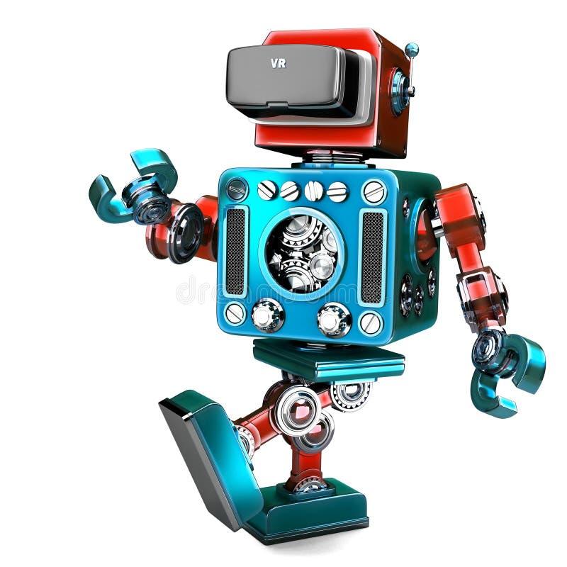 Αναδρομικό ρομπότ που φορά την κάσκα VR τρισδιάστατη απεικόνιση απομονωμένος Conta διανυσματική απεικόνιση