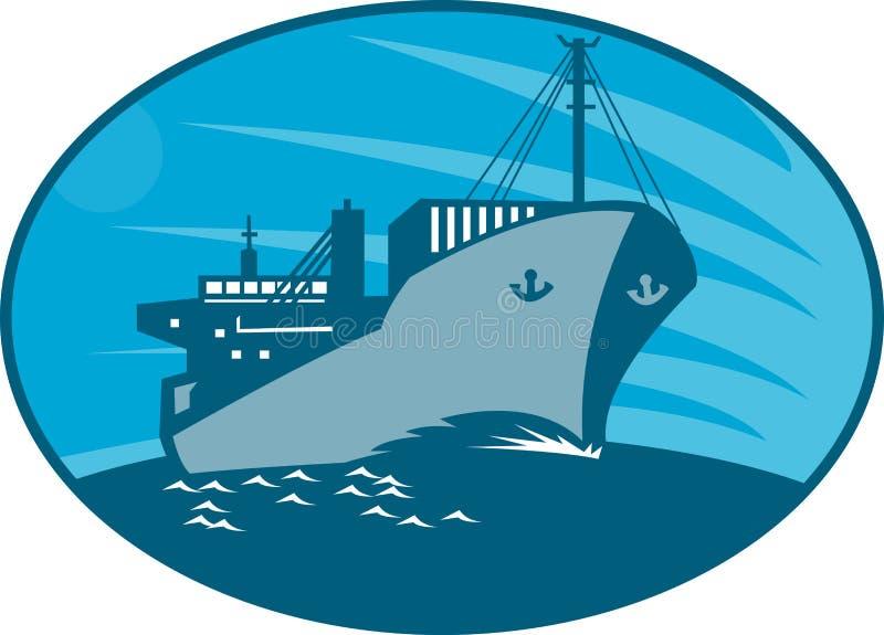 αναδρομικό σκάφος ναυλωτών εμπορευματοκιβωτίων φορτίου διανυσματική απεικόνιση