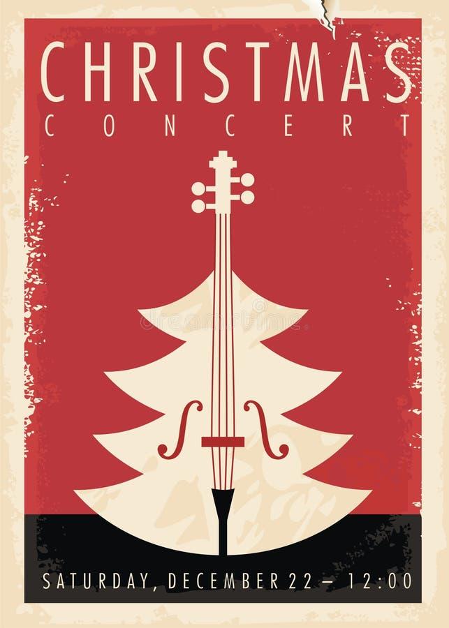 Αναδρομικό σχέδιο αφισών συναυλίας Χριστουγέννων απεικόνιση αποθεμάτων