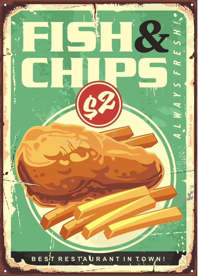 Αναδρομικό σχέδιο σημαδιών κασσίτερου αγγελιών ψαριών και τσιπ ελεύθερη απεικόνιση δικαιώματος