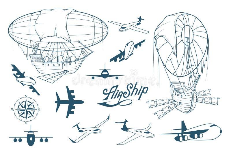 Αναδρομικό σύνολο αεροσκαφών Διαφορετικός φανταστικός dirigible Μπαλόνι Αναδρομικό σκάφος που αιωρείται στον αέρα Μηχανοκίνητα αε ελεύθερη απεικόνιση δικαιώματος