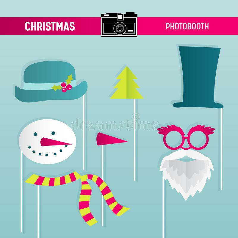 Αναδρομικό σύνολο κόμματος Χριστουγέννων γυαλιών, καπέλα, Moustaches, γενειάδα, μάσκες για τα στηρίγματα photobooth διανυσματική απεικόνιση
