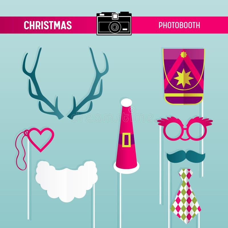 Αναδρομικό σύνολο κόμματος Χριστουγέννων γυαλιών, καπέλα, Moustaches, γενειάδα, μάσκες για τα στηρίγματα photobooth απεικόνιση αποθεμάτων