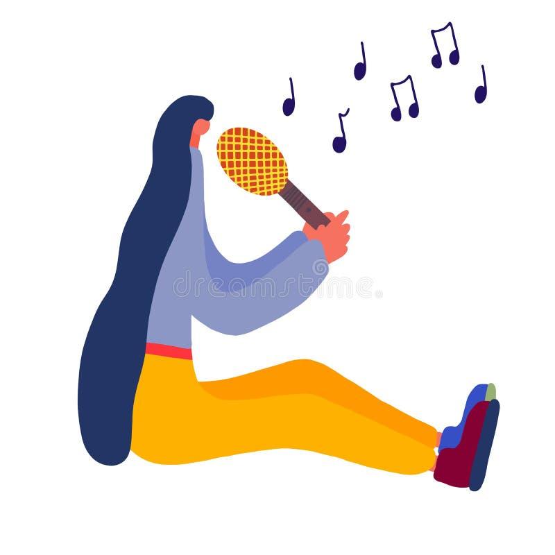 Αναδρομικό τραγούδι κοριτσιών χαρακτήρα στο μικρόφωνο για το σχέδιο έννοιας Εξοπλισμός φωνής Απόδοση ζωνών της Jazz Τραγουδώντας  απεικόνιση αποθεμάτων