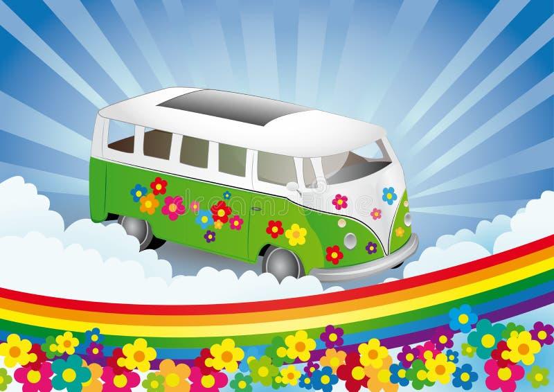αναδρομικό φορτηγό ισχύος λουλουδιών απεικόνιση αποθεμάτων