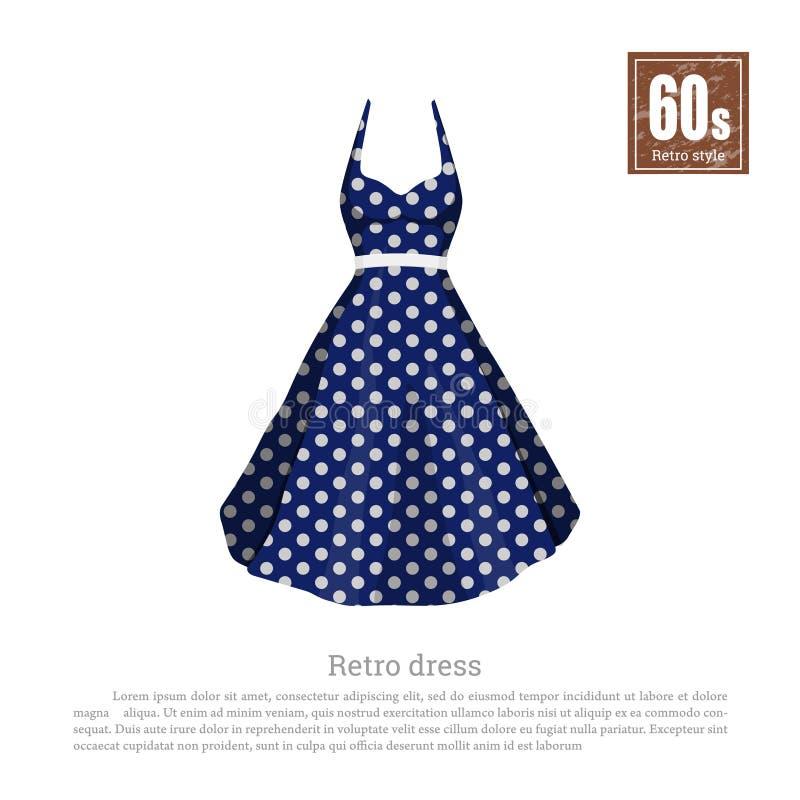 Αναδρομικό φόρεμα στο ρεαλιστικό ύφος στο άσπρο υπόβαθρο μόδα παλαιά μόδα της δεκαετίας του '60 Εκλεκτής ποιότητας μπλε εικονίδιο διανυσματική απεικόνιση
