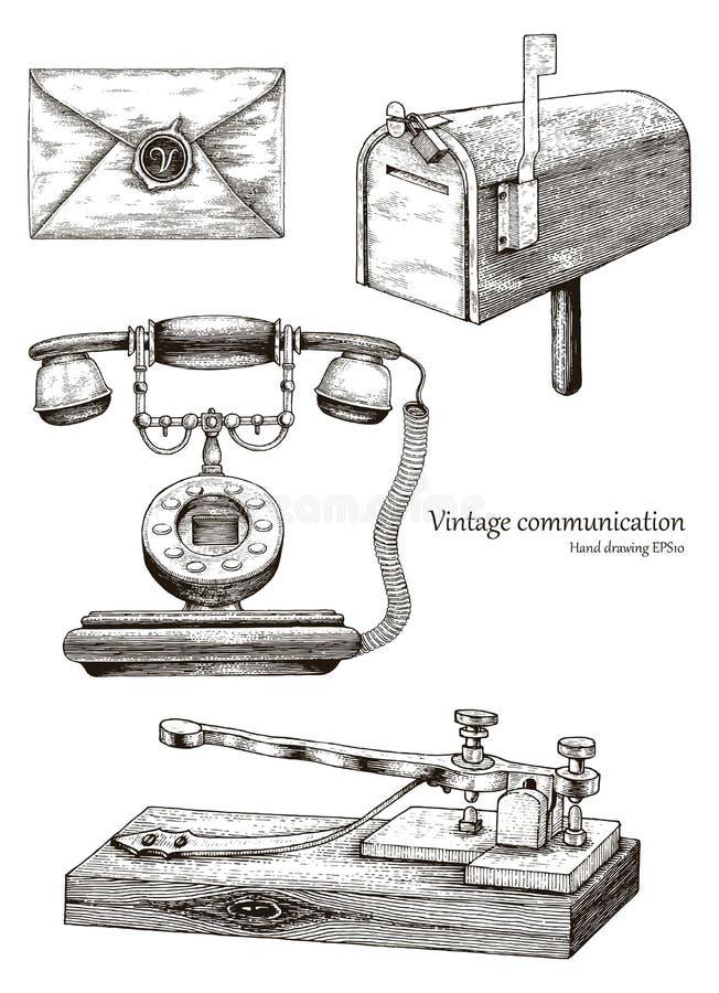 Αναδρομικό χέρι εξοπλισμού επικοινωνίας που σύρει το εκλεκτής ποιότητας ύφος διανυσματική απεικόνιση