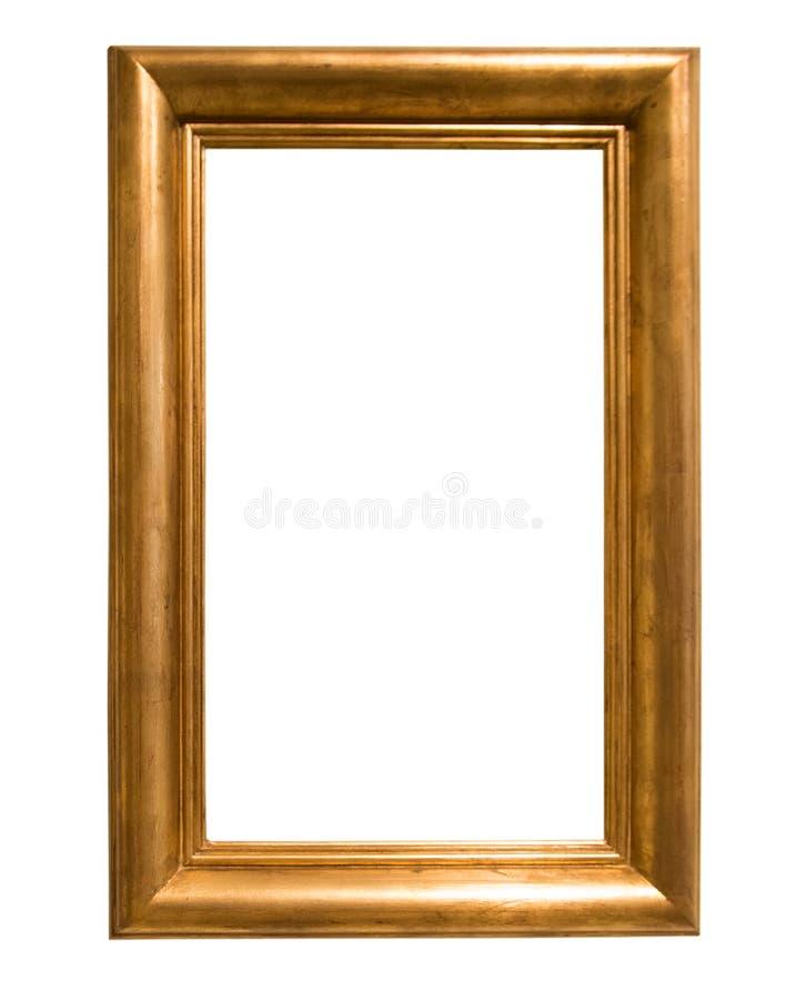 Αναδρομικό χρυσό ορθογώνιο πλαίσιο για τη φωτογραφία στο απομονωμένο υπόβαθρο στοκ εικόνες