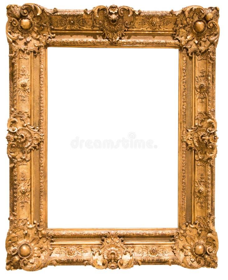 Αναδρομικό χρυσό ορθογώνιο πλαίσιο για τη φωτογραφία στο απομονωμένο υπόβαθρο στοκ φωτογραφία με δικαίωμα ελεύθερης χρήσης