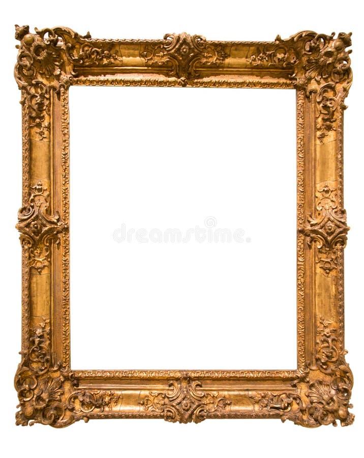 Αναδρομικό χρυσό ορθογώνιο πλαίσιο για τη φωτογραφία στο απομονωμένο υπόβαθρο στοκ φωτογραφίες