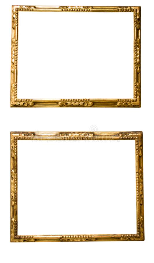 Αναδρομικό χρυσό ορθογώνιο πλαίσιο για τη φωτογραφία στο απομονωμένο υπόβαθρο στοκ εικόνα