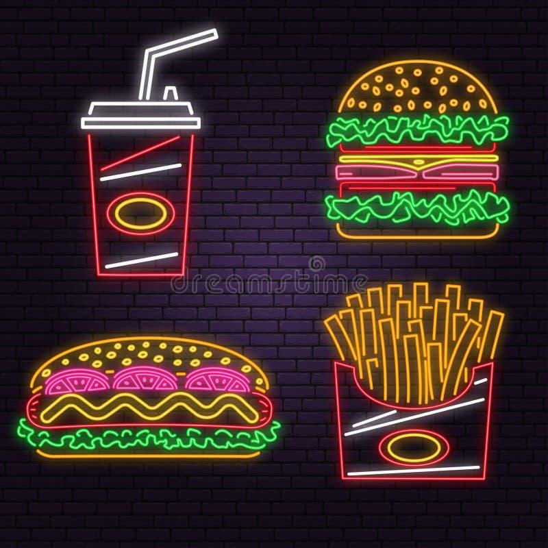 Αναδρομικό burger, η κόλα, το χοτ-ντογκ και οι τηγανιτές πατάτες νέου υπογράφουν στο υπόβαθρο τουβλότοιχος Σχέδιο για τον καφέ r  απεικόνιση αποθεμάτων