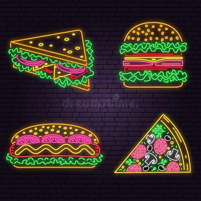 Αναδρομικό burger, το σάντουιτς, το χοτ-ντογκ και η πίτσα νέου υπογράφουν στο υπόβαθρο τουβλότοιχος Σχέδιο για τον καφέ, εστιατόρ απεικόνιση αποθεμάτων
