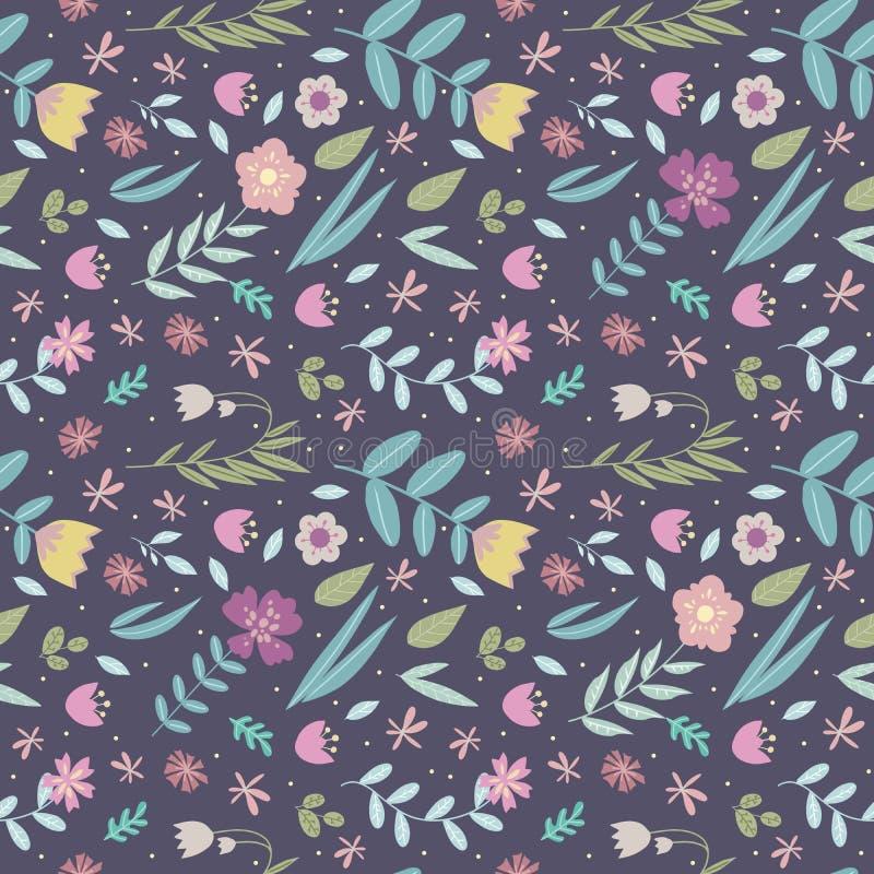 Αναδρομικό floral άνευ ραφής σχέδιο σχεδίου με πολλά ζωηρόχρωμα τυποποιημένα λουλούδια και φύλλα differet στο σκούρο μπλε υπόβαθρ ελεύθερη απεικόνιση δικαιώματος