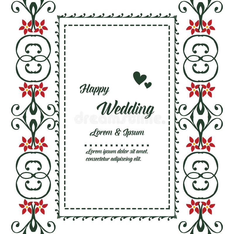 Αναδρομικό floral πλαίσιο ύφους, εκλεκτής ποιότητας διακόσμηση, ευτυχής γάμος καρτών προτύπων r διανυσματική απεικόνιση