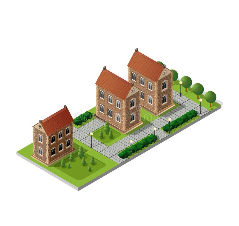 Αναδρομικό isometric εξοχικό σπίτι διανυσματική απεικόνιση