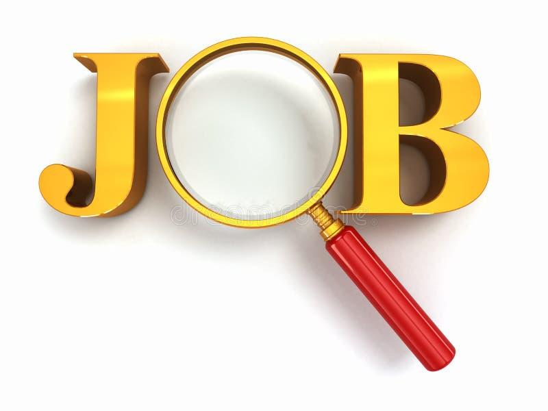 Αναζήτηση εργασίας. Κείμενο με το loupe στο άσπρο υπόβαθρο. απεικόνιση αποθεμάτων