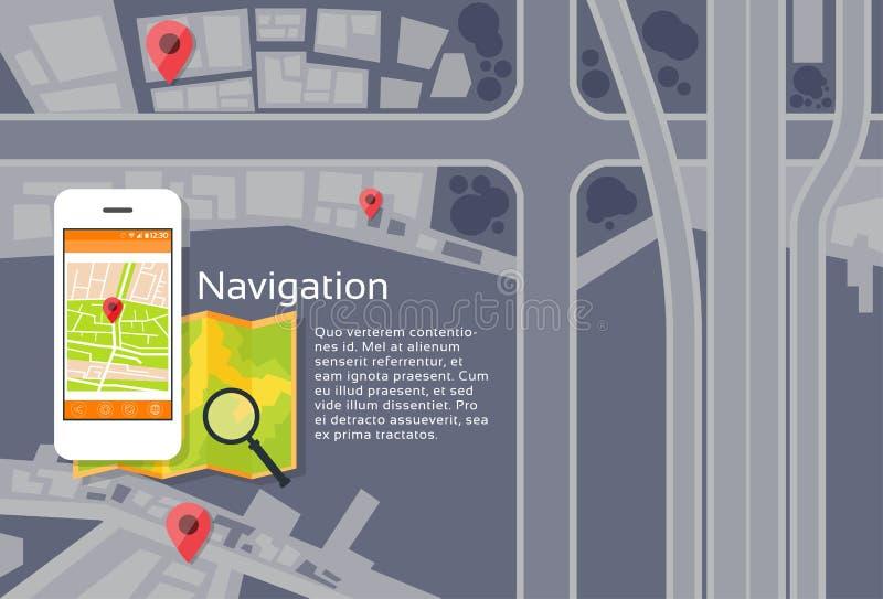 Αναζήτηση ναυσιπλοΐας χαρτών πόλεων τηλεφωνικής εφαρμογής διανυσματική απεικόνιση