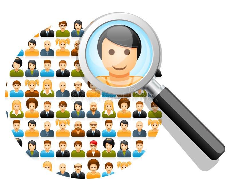 Αναζήτηση στο κοινωνικό δίκτυο διανυσματική απεικόνιση