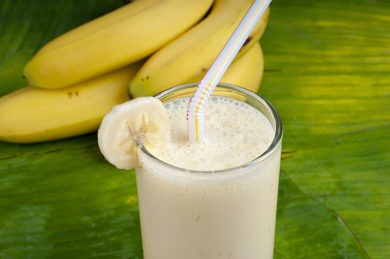αναζωογονώντας καταφερτζής κουνημάτων γάλακτος μπανανών στοκ εικόνες
