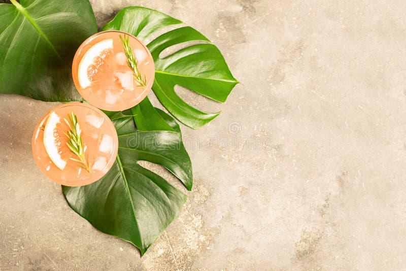 Αναζωογονώντας χυμός σαμπάνιας γκρέιπφρουτ θερινών κοκτέιλ δύο goblets γυαλιού στα φύλλα του φυτού Monstera στοκ εικόνες
