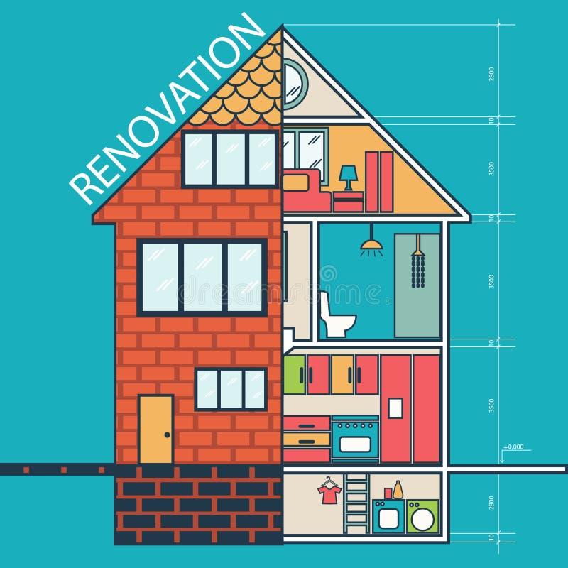 ανακαίνιση Σπίτι που αναδιαμορφώνει, επίπεδο σχέδιο απεικόνιση αποθεμάτων