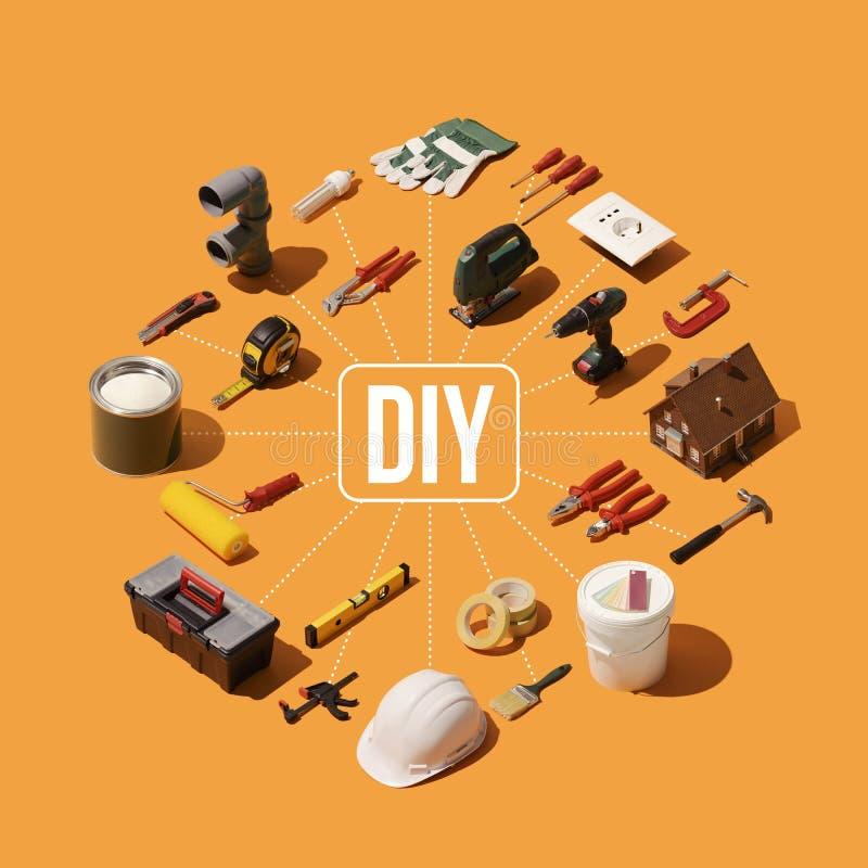 Ανακαίνιση DIY και σπιτιών διανυσματική απεικόνιση