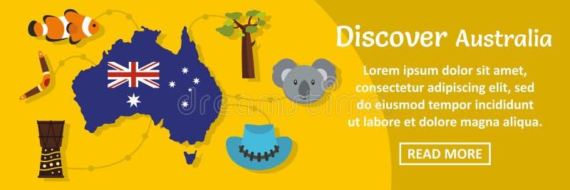 Ανακαλύψτε την οριζόντια έννοια εμβλημάτων της Αυστραλίας απεικόνιση αποθεμάτων