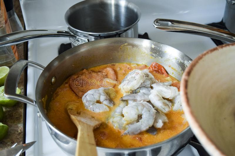 Ανακατώνοντας ακατέργαστες γαρίδες βραζιλιάνο stew στοκ εικόνα με δικαίωμα ελεύθερης χρήσης