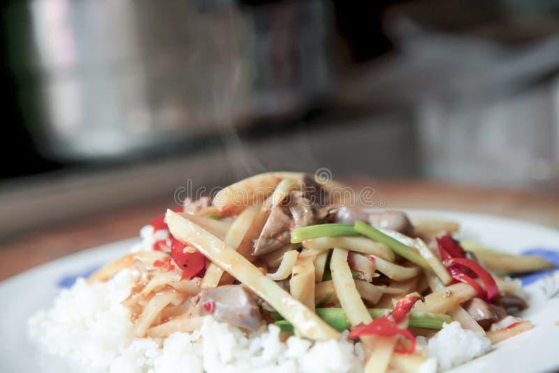 Ανακατώνω-τηγανισμένο πικάντικο κοτόπουλο με το συντηρημένο βλαστό μπαμπού στοκ φωτογραφία